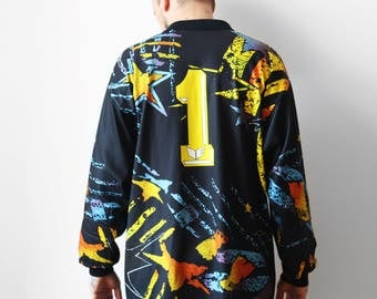 Vintage Erima goalkeeper sweatshirt / Goalie jersey t-shirt no. 1 / Football sports t-shirt tee shirt multicolor / 80s 90s XL XXL