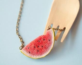 Watermelon Necklace pendant / watermelon jewelry / fruit jewelry / watermelons / fruit necklace / summer jewelry / fake food / dollhouse