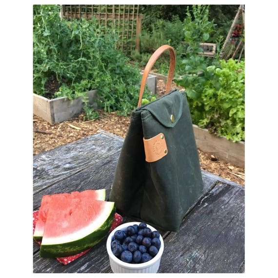 Insulated waxed Lunch bag