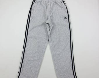 Adidas Track Pants Vintage Adidas Light Gray Fleece Jogger Pants Men's Size L