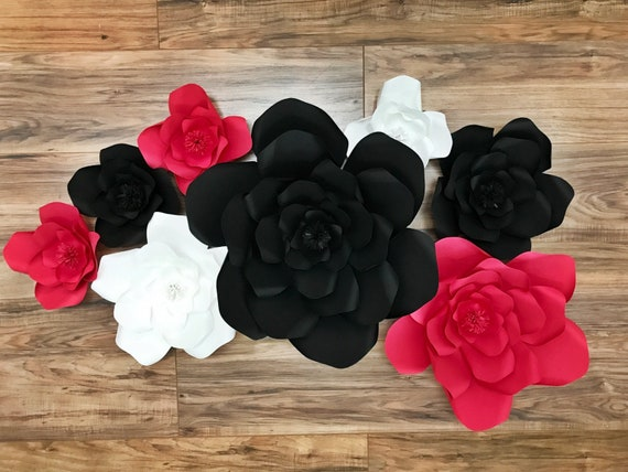 Black white and red paper flower backdrop graduation party decor il570xn mightylinksfo