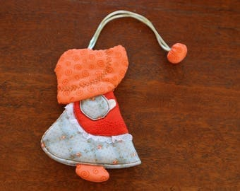 Little Orange Hat Cute Girl Cotton Key Cover Key Ring