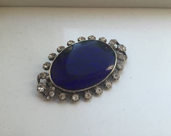 Vintage blue paste brooch silver hallmarked