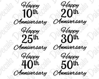 Happy Anniversary Collection SVG/DXF for Download - 10th, 20th, 25th, 30th, 40th, and 50th