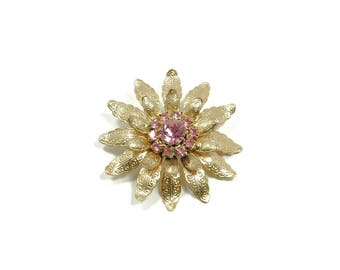 Vintage Estate Jewelry Gold Flower Pin Brooch Pink Stones
