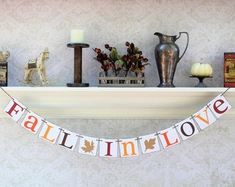 FALL ENGAGEMENT Party DECORATIONS - Rustic Fall in Love Banner - Autumn Wedding Signs
