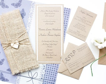 burlap wedding invitation rustic wedding invitation vintage wedding invitation shabby chic invitation - Rustic Vintage Wedding Invitations