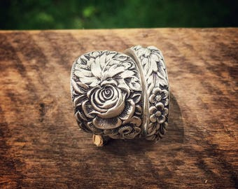 The Rose Garden Statement Sterling Spoon Ring