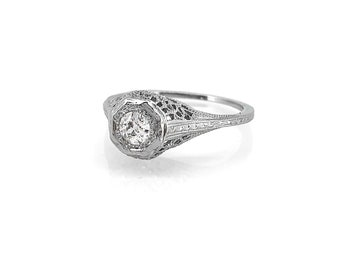 Antique 16ct. Diamond 18K White Gold  Engagement Ring - J35618