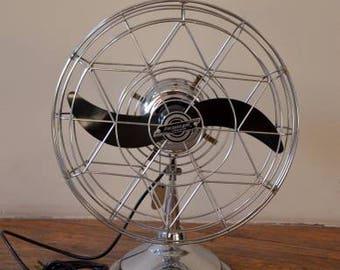 """Vintage Fresh'nd Aire 17"""" Industrial Chrome Air Cirulator Fan"""