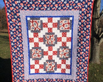 Spring - Bouquet - Floral - Red - White - Blue - Lap Quilt - Wall Hanging