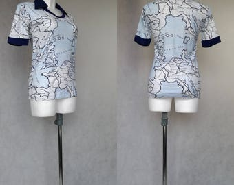 Butterfly Collar T, Retro T-Shirt, Blue Vintage Top, Short Sleeve Shirt, Pointy Collar Shirt, Disco Hippie T Shirt, 70s Top, Retro Polo Top