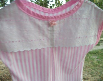 Darling M Lg Vintage 80s 90s Pink & White ICE CREAM PALOR Candy Stripes Blouse w Lace