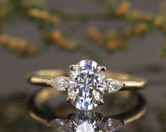 Pear Diamond Ring Etsy