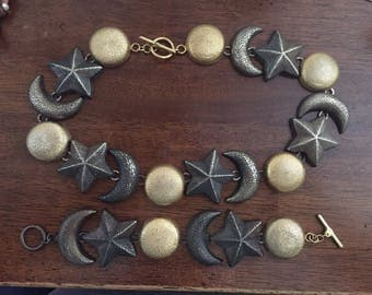 Stunning silver and gold moon and stars necklace and bracelet set magnificent rare vintage set