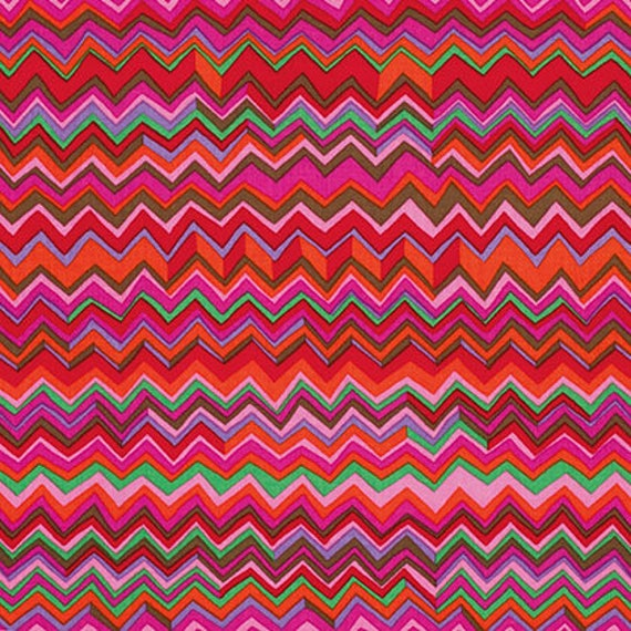 ZIG ZAG WARM Red BM043  Fall 2015 Brandon Mably for Kaffe Fassett Collective Sold in 1/2 yd increments