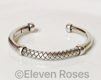 Bottega Veneta Intrecciato 925 Sterling Silver Cuff Bracelet Free US Shipping