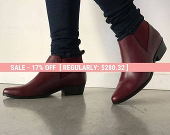 Burgundy leather boots, Burgundy shoes, Womens booties, Womens shoes, Chelsea boots, Women boots, Genuine leather shoes, Pointy ankle boots
