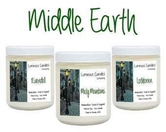 Soy Candles * Middle Earth Set * Book Candles * Literary Gifts * Handmade * 4oz Scented All White * LOTR * The Hobbit