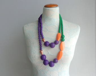 Chunky necklace, blue green orange necklace, colorblock necklace, statement necklace, long necklace