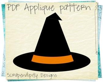 Halloween Baby Applique Template - Witch Hat Applique Clothing / Halloween Baby Applique / Witch Wall Hanging / Halloween Baby Quilt AP58-D