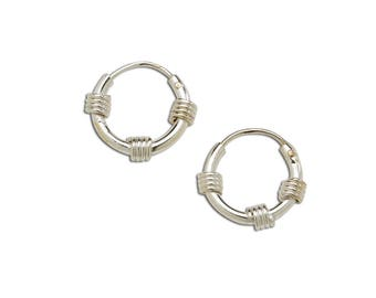 Sterling Silver Wire Wrapped Hoop Earrings for Girls (SSH-Hoop-Wire Wrapped)