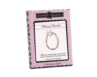 Sterling Silver Pearl Baby Blessing Bracelet with Pearl and Pink Crystals (BLB-01D)