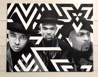 RUN DMC, painting on canvas by Moe Notsu
