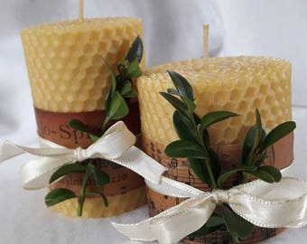 Set of two beeswax candle  hand-rolled