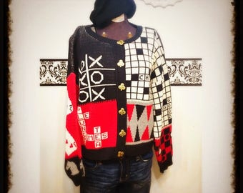 1980's Tic Tac Toe Hipster Cardigan Sweater by Sweater Loft, Plus Size, Medium Large, Vintage 1980's Poker Card Baggy Cardigan Sweater