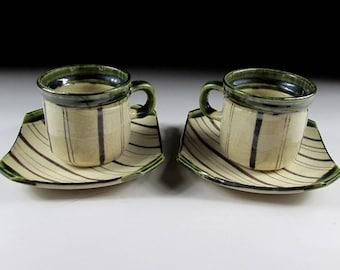 Tohzan Gama Oribe-ware Espresso Cup and Saucers, Koedo