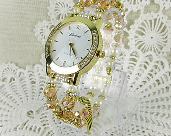 Wrist watch quartz watch bracelet ladies watch crystal glass beads stretch