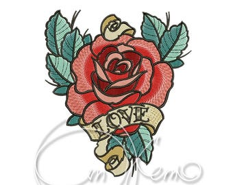 MACHINE EMBROIDERY DESIGN - Old school Rose, old school tattoo embroidery, Rose embroidery