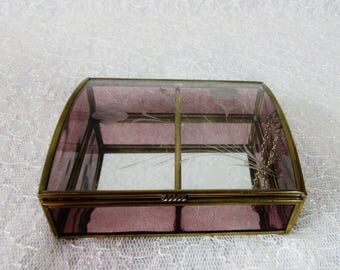Etched Glass Trinket Box, Glass Mirrored Jewelry Box, Tinted glass