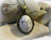 White Turquoise Pendant | Bronze Necklace | White Stone Necklace | White Necklace | Antique Brass | Vintage Pendants | Turquoise Necklace
