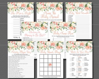 Peach & Mint Baby Shower Games Package, Set of 8 Printable Games Watercolor Peach Floral game pack, INSTANT DOWNLOAD 028