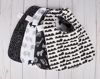 Baby Bibs Handmade - Safari Baby - Black and White Baby - Neutral Baby Gift - Baby Bib Set - Custom Baby Bib - Baby  - Spring Baby Gift