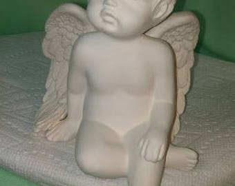 Shelf Cherub with Hand on Knee