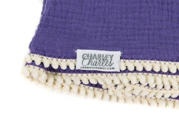 PURPLE Swaddle Blanket /Cream Pom Swaddle Blanket /Gauze Blanket / Blanket / Blanket / Newborn Blanket / Newborn Baby Blanket