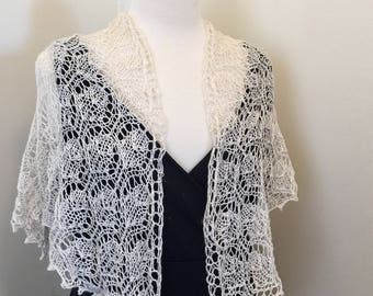 bridal shawl, natural silk, linen, beaded