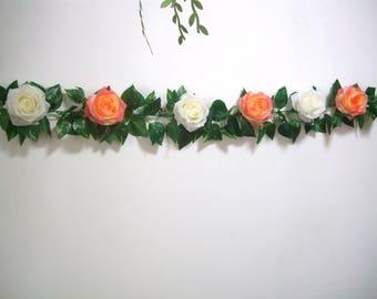 Wedding Garland,Orange Silk Flower Garland,Orange Rose Garland,Wedding Arch Garland decor,Hanging Floral Greenery Garland,Backdrop,Curtain