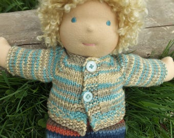 "Waldorf doll clothes, hand knitted doll sweater, waldorf doll sweater, 14""-16"" doll sweater"