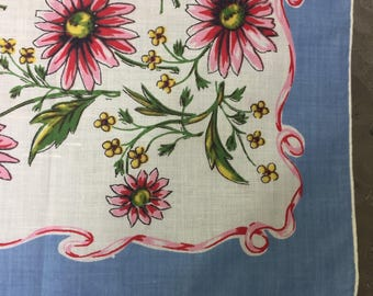 Sale Handkerchief Pink Daisies Blue Border Pink Ribbon Mid Century Retro