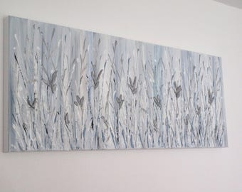 "Abstract Floral Painting Contemporary Abstract Acrylic Silver Flowers palette knife painting on box canvas 40"" x 16""  ~  100x40cm"