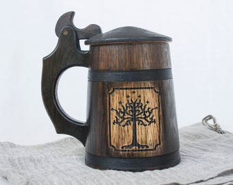 Tree of Gondor, Lord of the Rings Mug, Hobbit Mug, Wood Mug, Father of the Groom Gift, Wooden Beer Mug, Wooden Mug, Beer Mug, Wooden Tankard