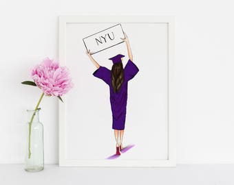 Graduate (Customize sign!) (Fashion Illustration Print)
