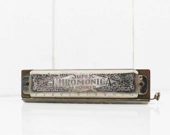 Vintage Harmonica HOHNER Chromonica Super 270, Vintage Music Instruments, French Flea Market Finds, Gifts for Musician Man Cave Decor - E277