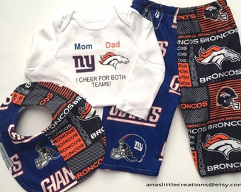 Custom House Divided Bodysuit ( Broncos - New York Giants) I Cheer For Both Teams and Pants or Shorts Bib 3pc Set