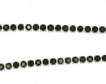 stunning black 03mm rhinestone chain dangles