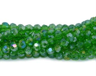 50 4mm peridot green AB glass faceted beads